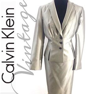 CALVIN KLEIN VTG Classic Gray Suite & Skirt 10